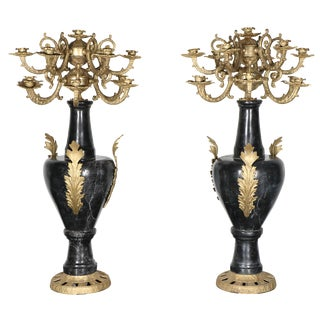 Marble and Brass Candelabras - A Pair