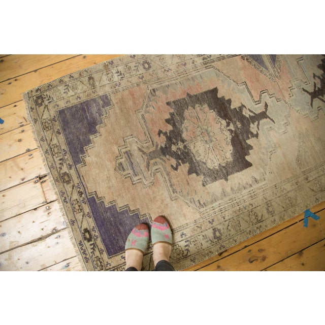 "Vintage Distressed Oushak Rug Runner - 3'7"" x 8' - Image 3 of 10"