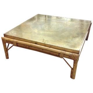 Regency Bamboo Custom Brass Top Table-Sarreid