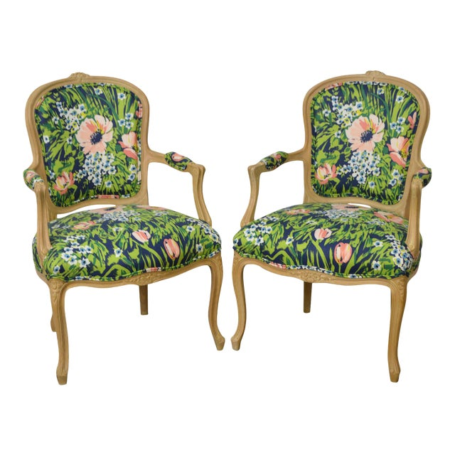 Woodmark French Louis XV Style Pair of Custom Upholstered Arm Chairs (B) - Image 1 of 11