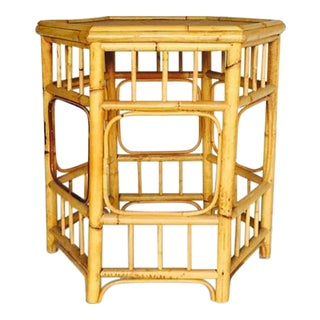Vintage Bamboo Fretwork Side Table