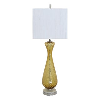 Tall Vintage Murano Glass Lamp on Marble Base