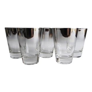 Mid-Century Silver Fade Whiskey Glasses - Set of 5