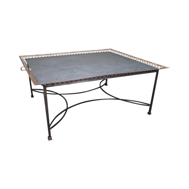 Niermann Weeks Large Regency Silver Leaf Tray Top Steel Frame Coffee Table Chairish