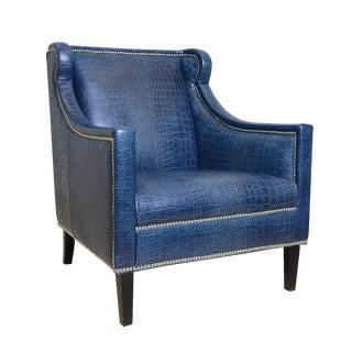 Pasargad Blue Leather Armchair