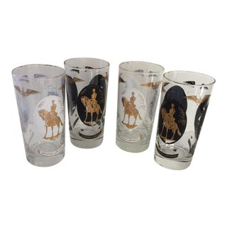 Vintage Black & White Independence Hall Highball Glasses - Set of 4