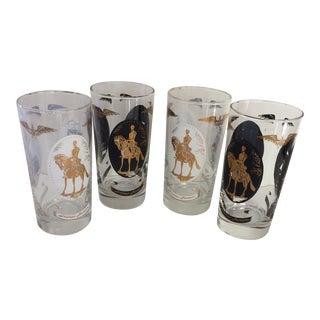 Vintage Black & White Independence Hall Highball Glasses - Set of 4