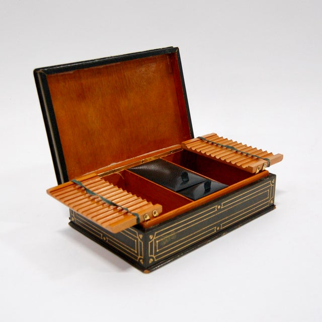 Image of 1930's Green Leather Cigarette & Cigar Humidor Tobacco Box