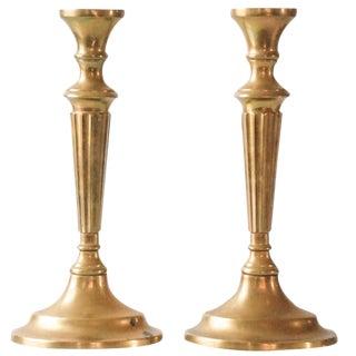 Large Vintage Brass Candlesticks - A Pair
