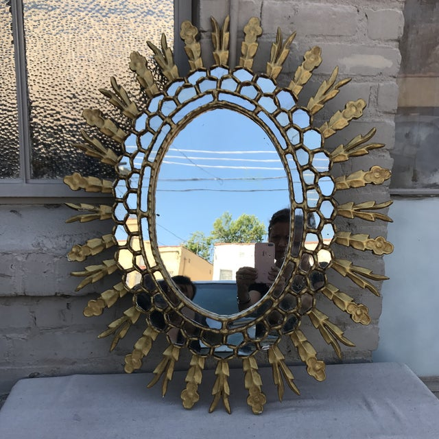 Spanish Gilt Wood Sunburst Mirror - Image 2 of 7