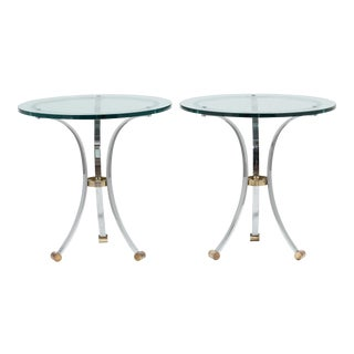 A Pair of Maison Jansen Steel and Brass Side Tables 1970s
