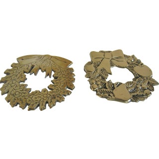 Brass Christmas Wreath Trivets - a Pair