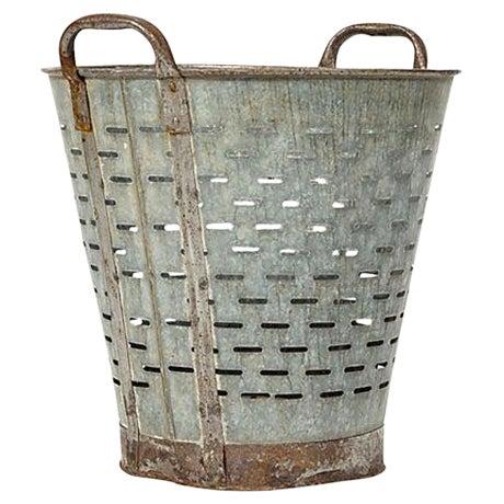 Vintage Mediterranean Rustic Olive Bucket - Image 1 of 3