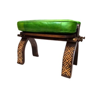 Green Moroccan Leather Footstool