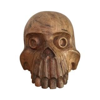 Vintage Paper Mache Mold Wood Skull
