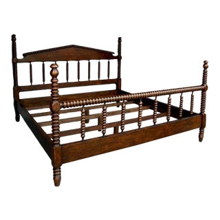 Custom Walnut Wood Bobbin Bed With Turned Spindle Head and Foot Boards