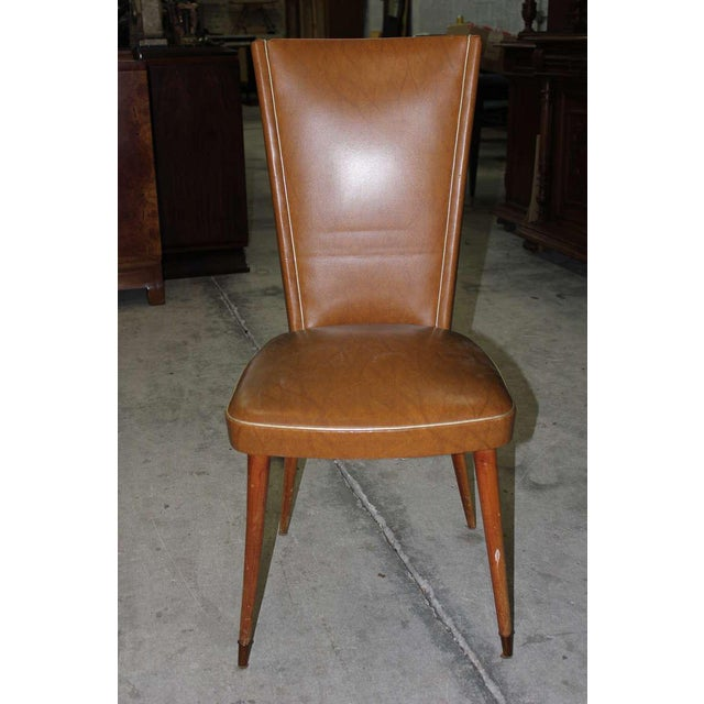 1940s Vintage French Art Deco Walnut Dining Chairs - Set of 6 - Image 2 of 7