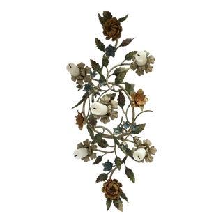 Italian Tole Flower Centerpiece Candle Holder