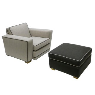 Paul Frankl Style Lounge Chair & Ottoman Set