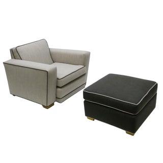 Paul Frankl Style Lounge Chair & Ottoman Set