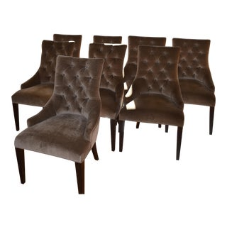 Contemporary Velvet Dining Armchairs - Set of 8
