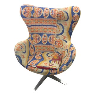 Indian Kantha Fabric Swivel Egg Chair