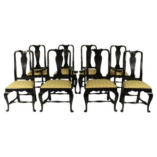 Black Lacquer Dining Chairs - Set of 8