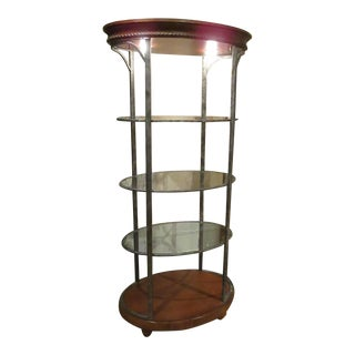 Oval Etagere with Glass & Wood
