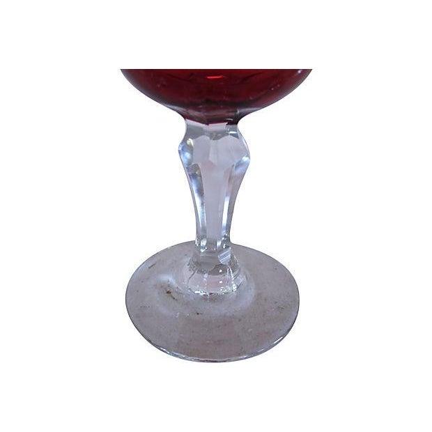 Antique English Cranberry Wine Glasses - Set of 4 - Image 2 of 2
