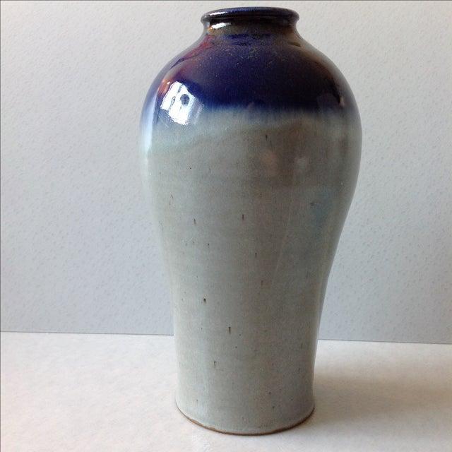 Studio Pottery Grey & Cobalt Blue Vase - Image 2 of 11