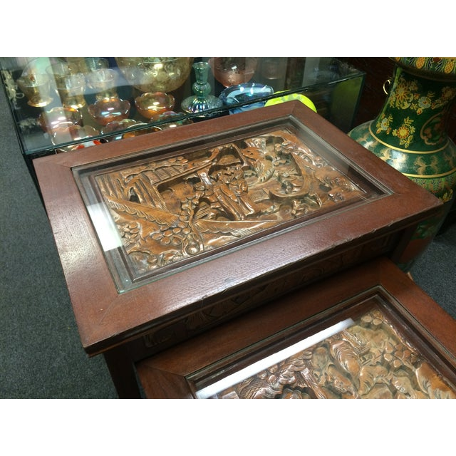 Asian hand carved nesting tables set of chairish