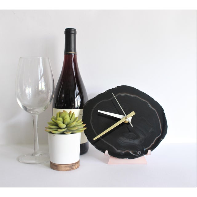 Black Agate Slice Desk Clock - Image 3 of 7
