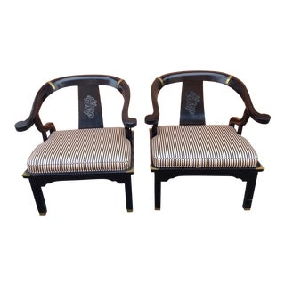 Black Lacquered Ming Style Horseshoe Chairs - A Pair