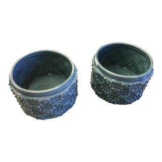 Blue Stoneware Planters - a Pair