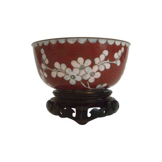 Chinese Cherry Blossom Cloisonne Bowl & Stand