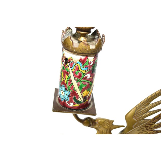 Antique Longwy Gryphon Candlesticks - A Pair - Image 5 of 7