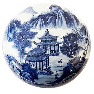 Blue & White Round Porcelain Canister