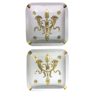 Zaccagnini Hollywood Regency White/Gold Ashtrays - 2