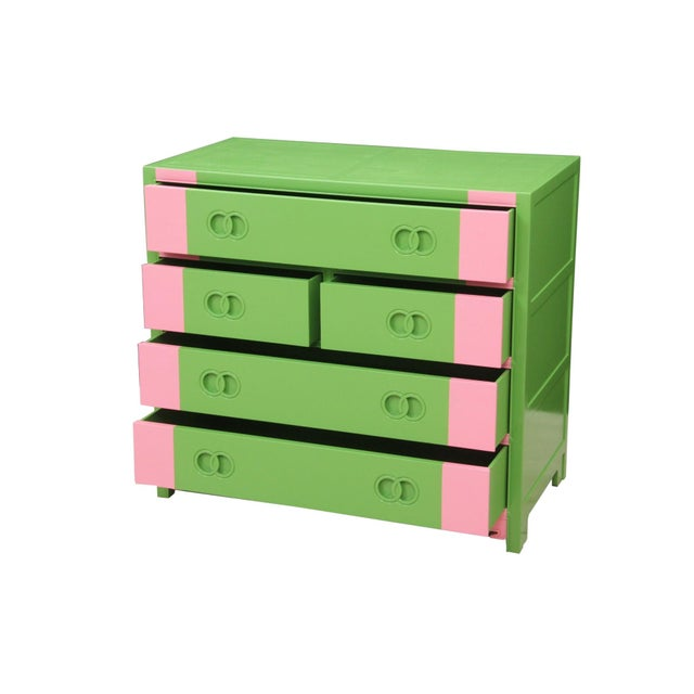 Midcentury Style Green and Pink Chest of Drawers - Image 2 of 7
