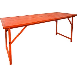 Orange Vintage Wood and Steel Frame Folding Table