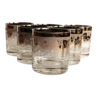 Grapevine Silver Fade Lowball Glasses - Set of 6