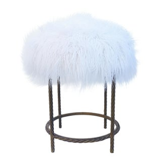 Vintage Italian Gold Gilt Iron Rope & Faux Fur Stool