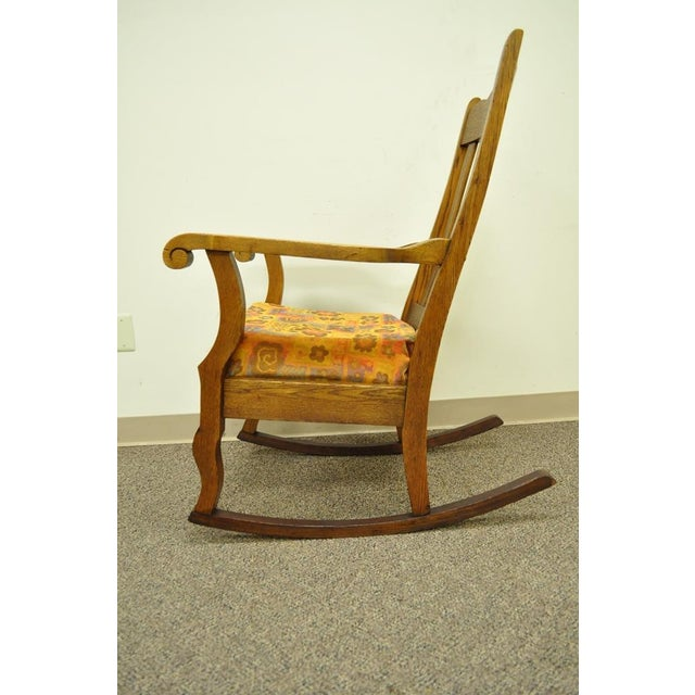 Antique Mission Arts & Crafts Carved Solid Oak Rocking Lounge Chair - Image 2 of 11