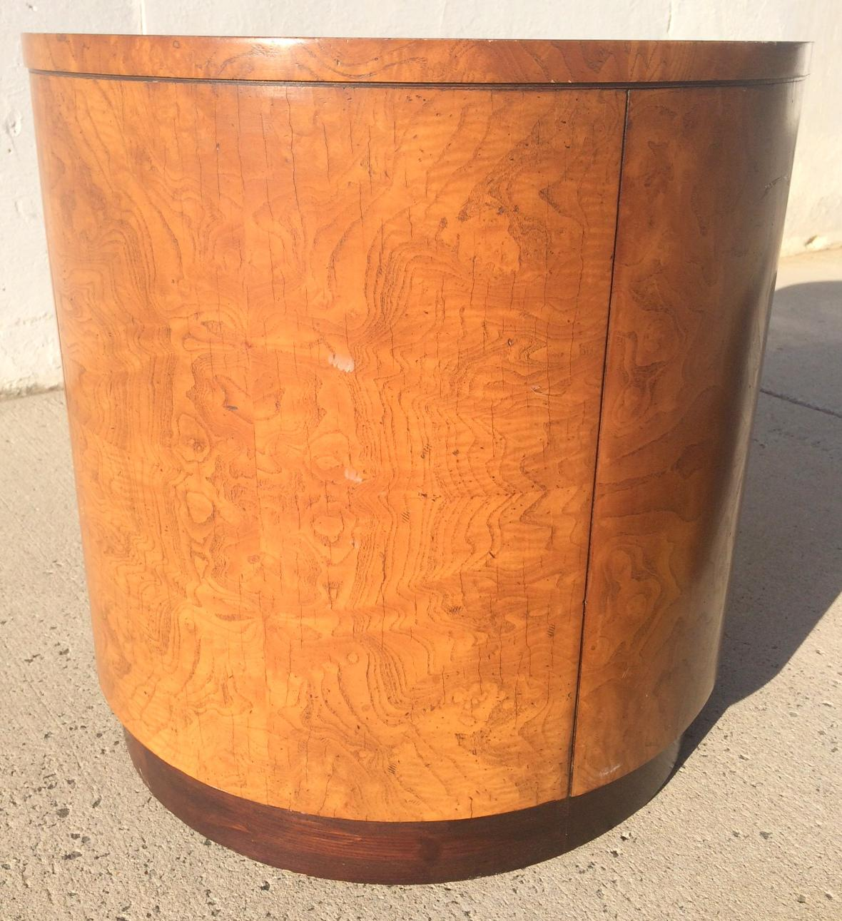 Mid Century Olive Burl Wood Drum Table Bar Cabinet   Image 3 Of 8
