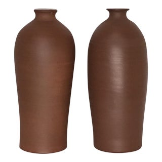 Vintage Mid-Century East German Pottery Vases - a Pair
