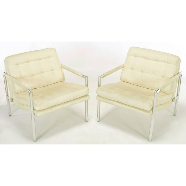 Image of Pair of Polished Aluminum & Linen Lounge Chairs in the Manner of Harvey Probber
