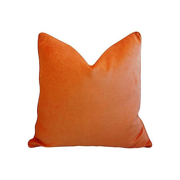 "24"" Custom Tailored Chic Tangerine Orange Velvet Feather/Down Pillows - Pair - Image 2 of 6"