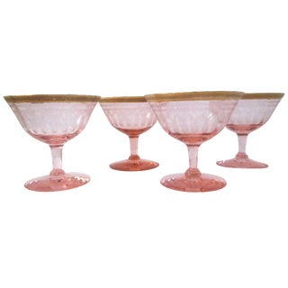 Mid-Century Gilded Pink Etched Glasses - Set of 4