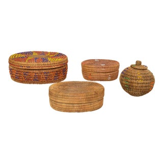 Beaded Lombok Indonesia Baskets - Set of 4