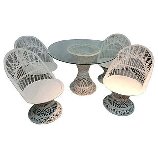 White Spun Fiberglass Patio Set